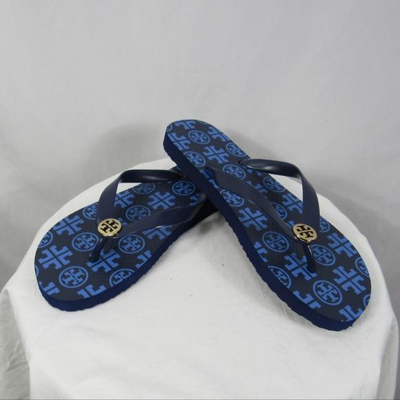 9737010700bb Tory Burch Blue T Logo Flip Flop Sandals 9 NEW!